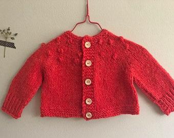 Poppy Bobbles Hand Knit Baby Sweater