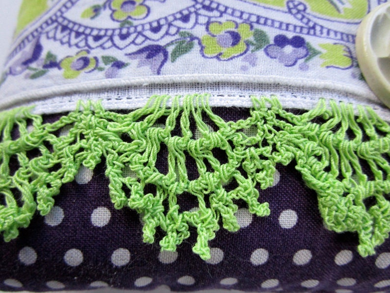 Purple and Lime Green Floral with Vintage Buttons 6 Square Vintage Handkerchief Lavender Sachet