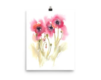 Poppies - Watercolor Print Poster - Studio and Home Decor