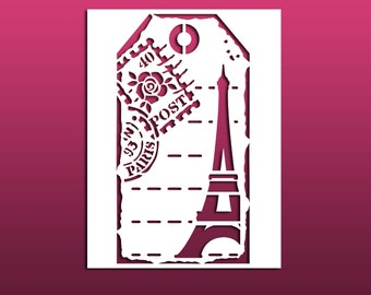 Paris Postage Tag Shaped Stencil with Eiffel Tower for Painting, Art Journals, Mixed Media - Reusable Stencil