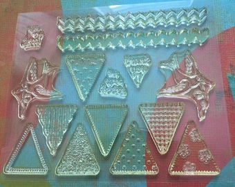 Clear cling rubber stamps pennant