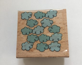 Wooden Rubber stamp clouds