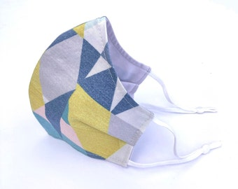 Adult and child sized cloth face covering mask / soft summer geometric / adjustable pastel hues geometric pattern face mask