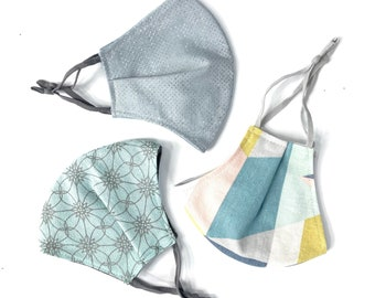 Back to school 3 Pack / adult or child sized cloth face covering masks / neutral geometric designs / adjustable patterned face masks