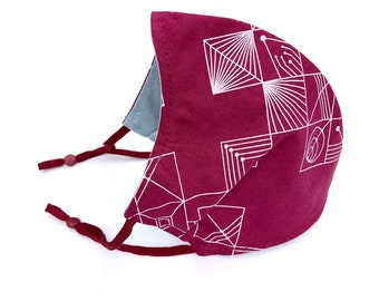 Adult and child sized cloth face covering mask / prism / contoured geometric pattern face mask in garnet with light blue grey lining