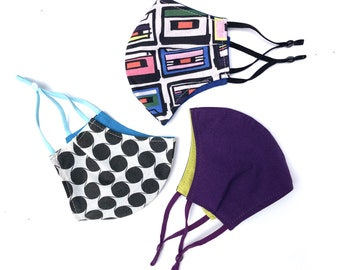 Back to school 3 Pack / kids sized 8-12 years cloth face covering mask / fun geometric eighties nineties mixtape / adjustable face masks