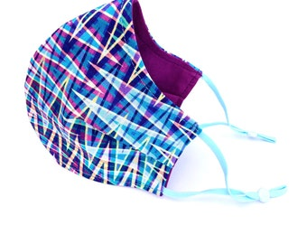 Adult and child sized cloth face covering mask / zig zag plaid / adjustable bright colors geometric pattern face mask