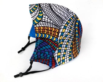 Adult and child sized cloth face covering mask / zentangle / adjustable swirly geometric pattern face mask with bright colors