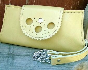 Sale - Womens Chartruesse Leather Wristlet Wallet Clutch for Women - Reduced