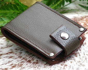 Men's Brown Leather Money Clip Bifold Snap Wallet - Slim Jim