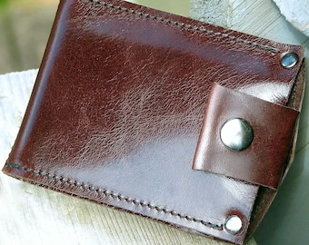 Men's Brown Leather Money Clip Snap Wallet , Minimalist, Slim