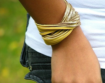 Women's Leather Rocker Wristband Bracelet Cuff - Mobius- Gold and Yellow