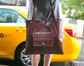 Laptop Work Tote Bag in Wine Vegan Leather