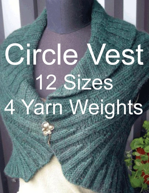 Circle Vest Knitting Pattern 12 Sizes 4 Yarn Weights Etsy
