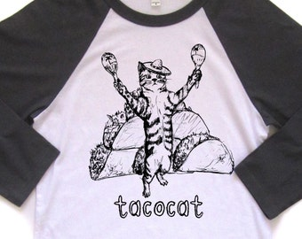 tacocat baseball tshirt, cat shirt, baseball t, taco tshirt, silkscreen shirt, men's tshirt, men's gift idea, free ship