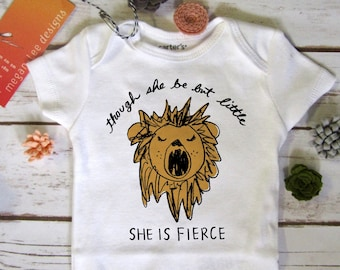 fierce lion baby Onesie®, strong and cute baby bodysuit, cool shower gift, feminist onesie®, small but fierce, girl power, lion bodysuit