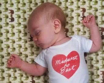 cute baby Onesie®, midwest is best baby Onesie®, midwest is best heart, baby neutral, baby shower, shower gift, free ship