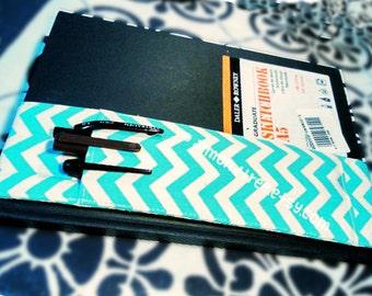 chevron notebook elastic pencil case Journal pen holder, chevron, stationery  bandolier,  sketch books, id195301 gift for artist writer