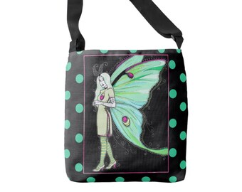 Luna moth fairy crossbody tote bag - polka dot purse - black and mint - printed tote - shopping, grocery bag