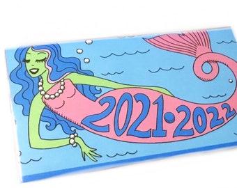 2021 - 2022 mini calendar retro Mermaid  pocket planner, two year datebook,  2 year monthly calendar, blue pink ocean sea aquarius pastel