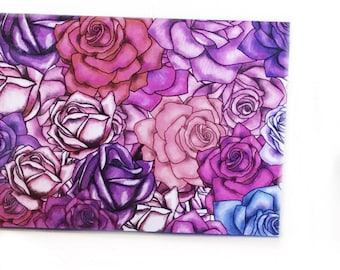 2022 - 2023 pocket calendar - Moody Roses - mini calendar - pocket planner datebook - pink mauve and purple floral