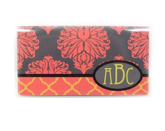 Personalized checkbook cover - Baroque Damask - elegant monogram check book holder - grey, coral, orange