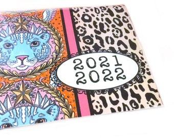 2021 - 2022 mini calendar Sweet Tigers pocket planner, two year datebook,  2 year monthly calendar, angel tigers boho pastel cute mint pink
