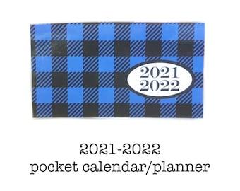 2021 - 2022 mini planner, Buffalo Plaid blue and black pocket planner, two year calendar, 2 year monthly calendar lumberjack mountain