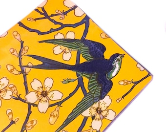 2021 - 2022 mini Planner, Swallows and Almond blossom honey gold pocket planner, two year calendar, 2 year monthly calendar