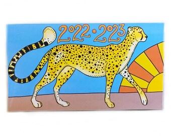 2022 - 2023 pocket calendar - Cheetah Sunrise - mini calendar - big cats - cheetahs - pocket planner datebook