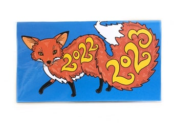 2022 - 2023 pocket calendar - Foxy Fox - mini calendar  - pocket planner datebook - woodland meadow turquoise red orange
