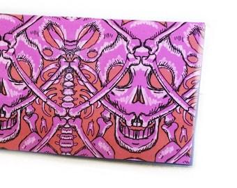 2022 - 2023 pocket calendar - Ossuary - mini calendar - pocket planner datebook - spooky pink and orange skeleton skulls and bomes