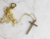 Vintage Brass Crucifix Cross Necklace | Religious Symbol