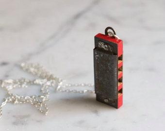 "Antique Miniature Harmonica Necklace ""Music"" Japan Mini Working Musical Instrument"