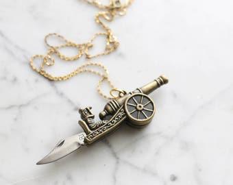 Brass Cannon | Novelty Pocket Knife Necklace