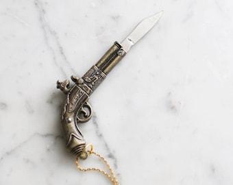 Gun Pocket Knife Necklace Brass Pistol Flintlock