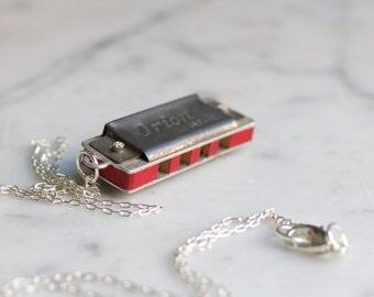 Antique Miniature Harmonica Necklace Orion Japan Mini Working Musical Instrument
