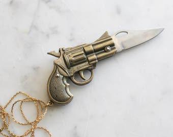Brass Pistol Gun Shaped Miniature Pocket Knife Necklace