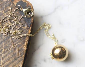 Vintage Brass Ball Shaped Locket Necklace