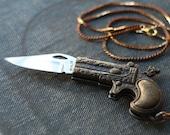 Pistol Gun Dragon Pocket Knife Necklace / Miranda Lambert Style Gun Necklace