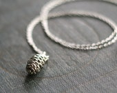 Silver Pine Cone Woodland Forest Necklace
