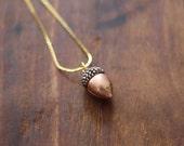 Vintage Copper Acorn Charm Necklace