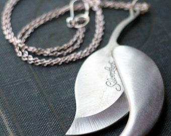 Silver Leaf Pocket Knife Necklace