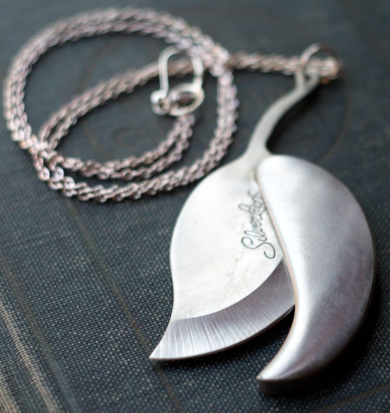 Silver Leaf Pocket Knife Necklace image 0
