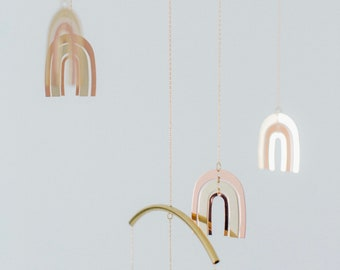 Brass Metal Rainbow Mobile   Baby Mobile   Rainbow Nursery Decor   Plated Gold, Rose Gold