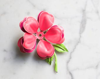 Vintage Enamel Flower Brooch | Hot Pink and Neon Green Costume Jewelry | Summer Party Accessory