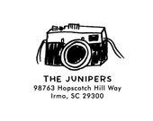 Camera Address Rubber Stamp - Personalized Address Stamp - Custom Address Stamp