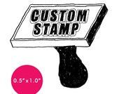 """CUSTOM Rubber Stamp - 0.5"""" x 1.0"""" - Logo, Business, Promotion Stamp .5x1"""