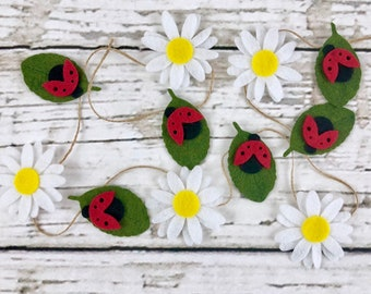 Lady Bugs and Daisies Garland   Summer Decor   Birthday   Photo Prop   Mantle Decor
