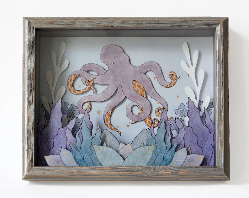 Dream Depths 8x10 octopus printed shadow box MADE TO ORDER image 0